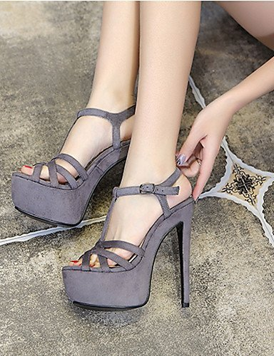 ShangYi Womens Shoes Leather Stiletto Heel Heels / Platform Sandals Party & Evening / Dress / Casual Black / Yellow / Gray / gray