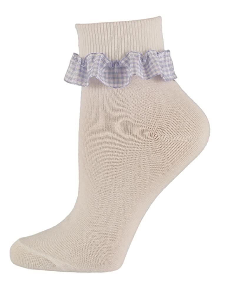 Soxsmith 6 Pairs Little Girls Gingham Frill White Cotton Ankle Socks
