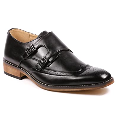 MC104 Men's Double Monk Strap Wing Tip Perforated Slip On Loafers Dress Shoes