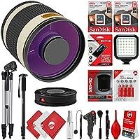 Opteka 500mm f/6.3 (w/ 2x Converter 1000mm) Telephoto Mirror Wild Life Lens for Canon EOS 80D, 77D, 70D, 60D, 7D, 6D, 5D, 7D Mark II, T7i, T6s, T6i, T6, T5i, T5, SL1 & SL2 Digital SLR Cameras