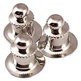 ピンバッジのキャッチ留め具デラックス丸型クラッチ銀色3個セット
