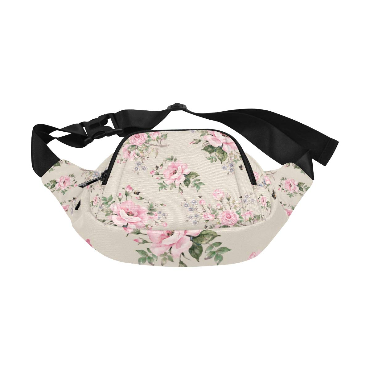Blooming English Rose Watercolor Fenny Packs Waist Bags Adjustable Belt Waterproof Nylon Travel Running Sport Vacation Party For Men Women Boys Girls Kids