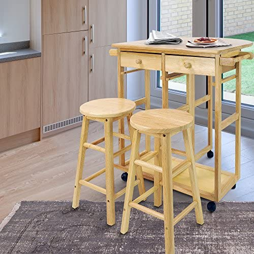 Casual Home Drop Leaf Breakfast Cart with 2 Stools-Natural