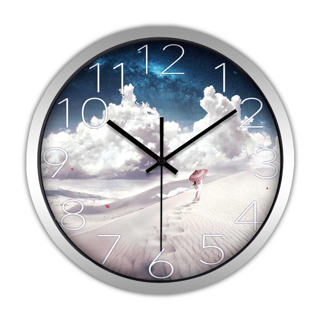 掛け時計 ウォールクロックモダンクリエイティブなパーソナリティファッション大地中海の居間の壁時計シンプルな研究クォーツ時計ウォールチャート Rollsnownow (色 : シルバー しるば゜, サイズ さいず : 12インチ) B07BKZRWHV 12インチ|シルバー しるば゜ シルバー しるば゜ 12インチ