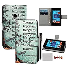 xhorizon TM FLK Deluxe Leather Wallet Credit Card Holder Stand Case Cover for Nokia Lumia 520 with A Stylus/A cleaning cloth/A Dust-proof plug #1-Enjoy your life