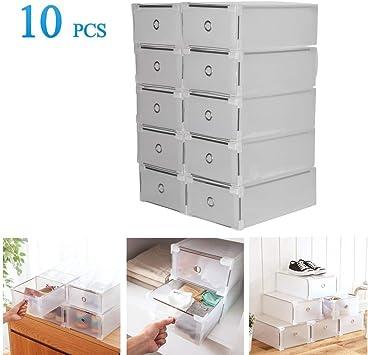 Homgrace 10 Cajas para Zapatos Transparente Plástico, Caja Guardar Zapatos, Calcetines, Juguetes, Cinturones para la organización de su hogar, Oficina: Amazon.es: Juguetes y juegos