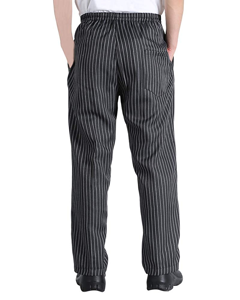 Amazon Com Men S And Women S Elastic Stripe Chef Pants