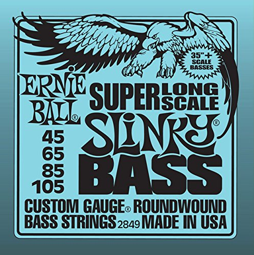 Ernie Ball Super Long Scale Nickel Wound Slinky Bass Guitar Strings Set .045 - .105 ()