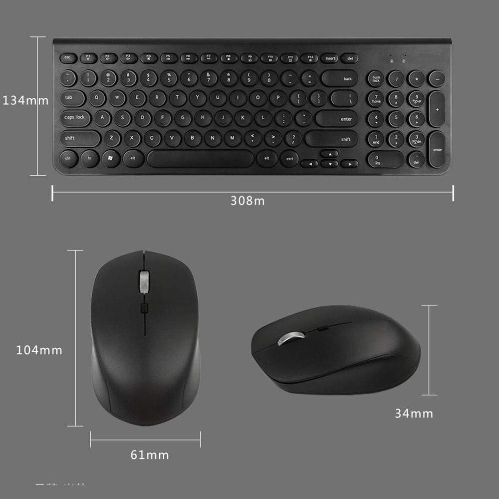 Feel Good and React Fast Wireless 2.4G Mute Keyboard and Mouse Set Circle Chocolate Hood Multi-Color Ultra-Thin Waterproof JIADUOBAOSEN Color : Green