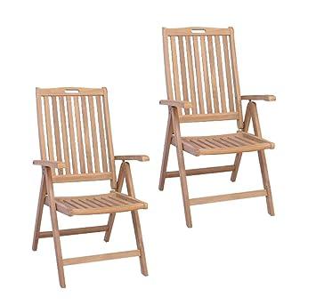 Divero - Set de 2 sillas Plegables (Teca, Respaldo ...