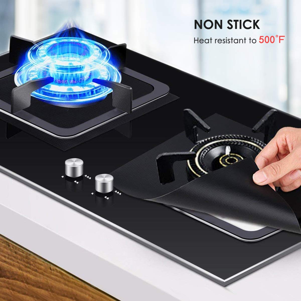 """Size 10.6/"""" x 10.6/"""" Cuttable Easy to Clean Non- Stick 10-Pack Gas Stove Burner Covers Wallfire Stove Burner Covers Black Square 0.2mm Double Thickness Protectors for Kitchen Dishwasher Safe"""