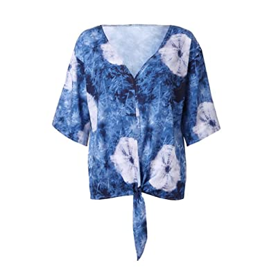08fb062a415bad Mose Knotted Tops for Women Women Casual V-Neck Printed Lace-up 3 4 ...