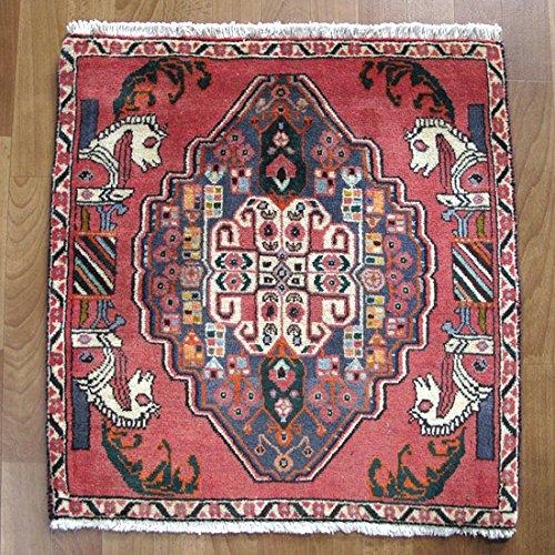 カシュガイ 手織りウール100%草木染め絨毯/座布団サイズ 赤 伝統柄 68×66cm(ZP-957) [並行輸入品]   B01MRPGDUA