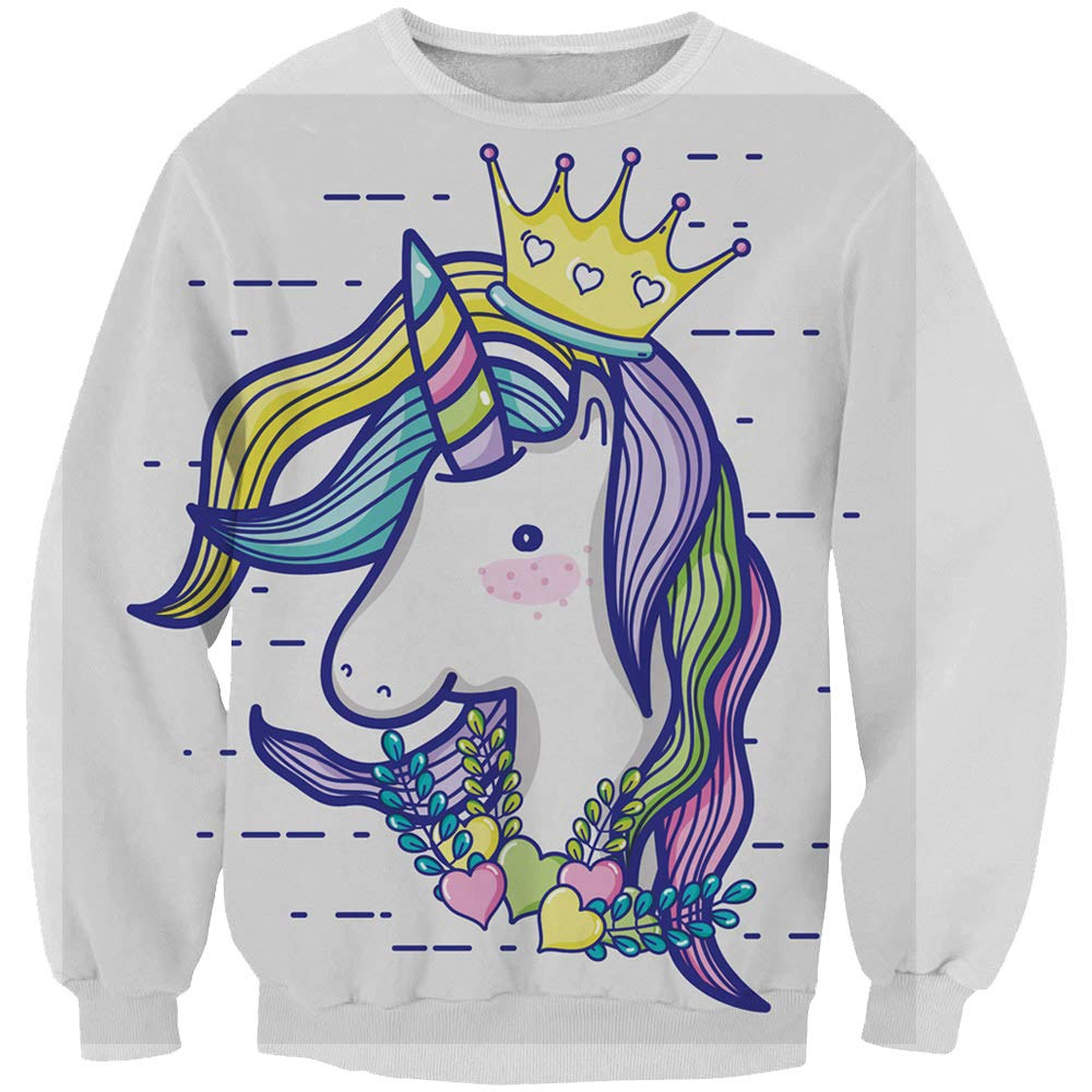 KIDVOVOU Harajuku Hoodie Pullover Unicorn Cartoon Printed Kawaii Sweatshirts Girls