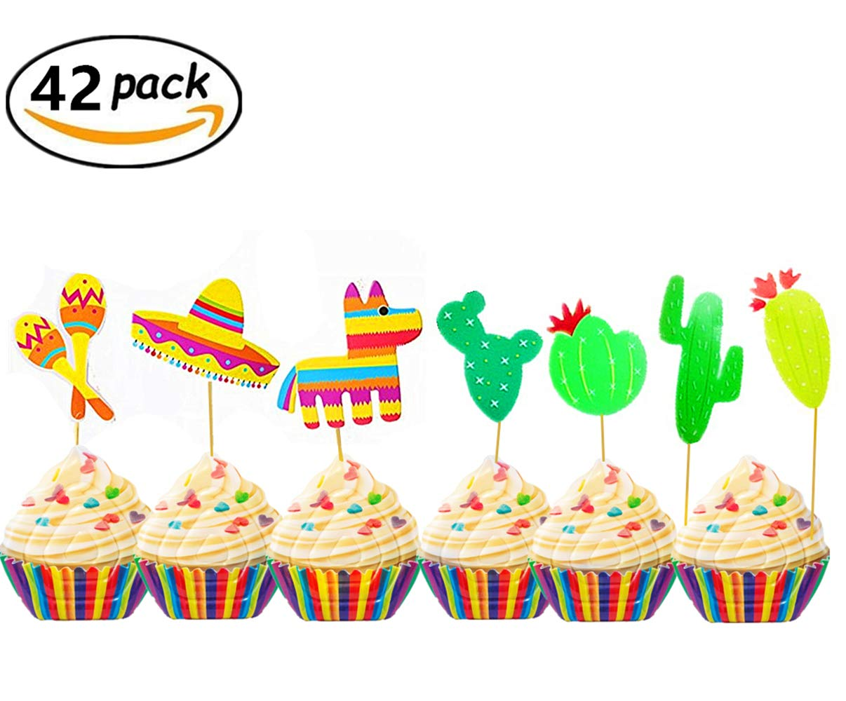 JeVenis (42 pcs) Fiesta Cupcake Toppers Mexican Fiesta Party Striped Decorative Cake Topper for Mexican Themed Cactus Donkey Taco Pepper Sombrero Mustache Party Decorations