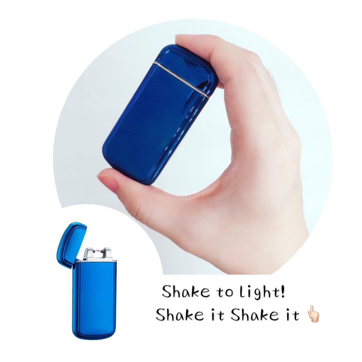 ElectricライターシェイクセンサーUSB充電式防風円弧ライタープラズマ梁ライターと充電ケーブルとギフトボックス B01KAB7UHY  ブルー