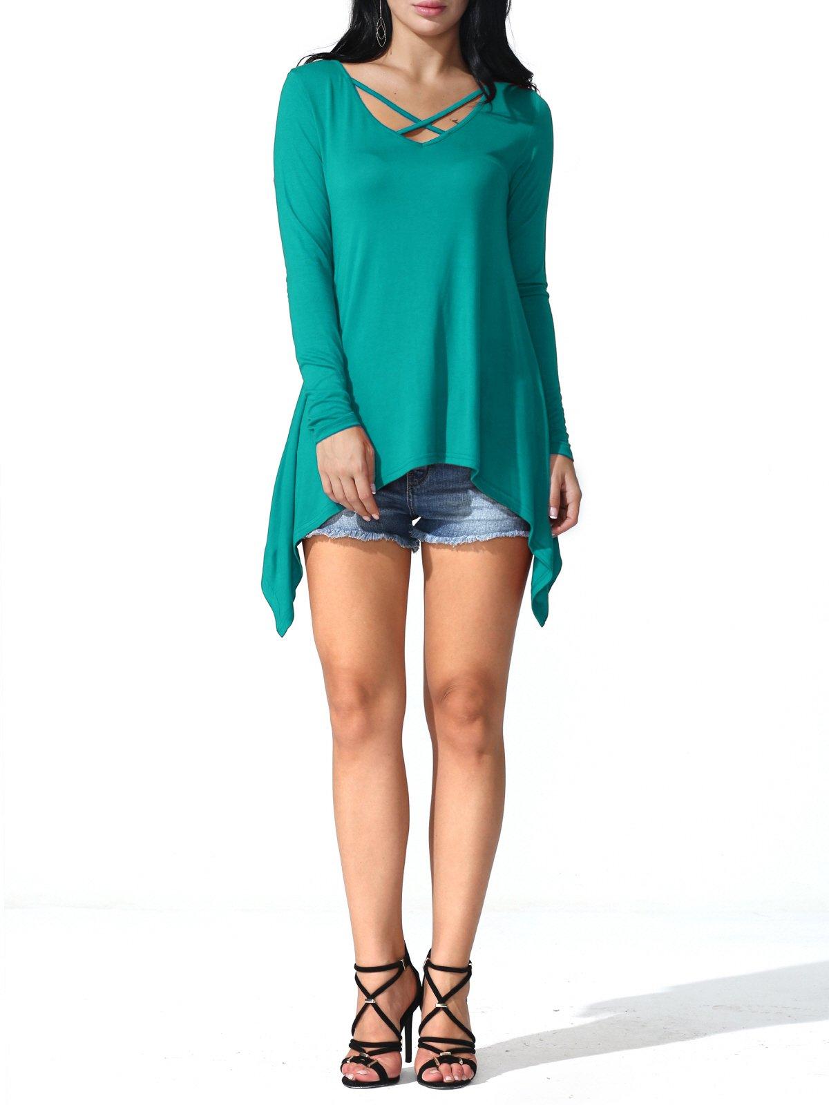 Prime Deal JayJay Women Prime Plus Size V Criss Cross Neck Long Sleeve Summer Tunic Tops,Jade,M