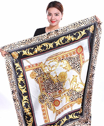 Leopard Print Silk Dress (Bear Motion Collection - Womens 100% Large Silk Scarf with Leopard Print (43