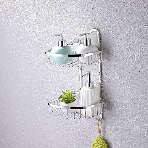 KES A2124 Bathroom 2-Tier Corner Shelf Basket with Towel Hook Stainless Steel Wall-Mounted, Polished by Kes