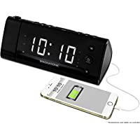 Electrohome EAAC475W USB Charging Alarm Clock Radio with Time Projection Battery Backup Auto Time Set Dual Alarm 1.2…