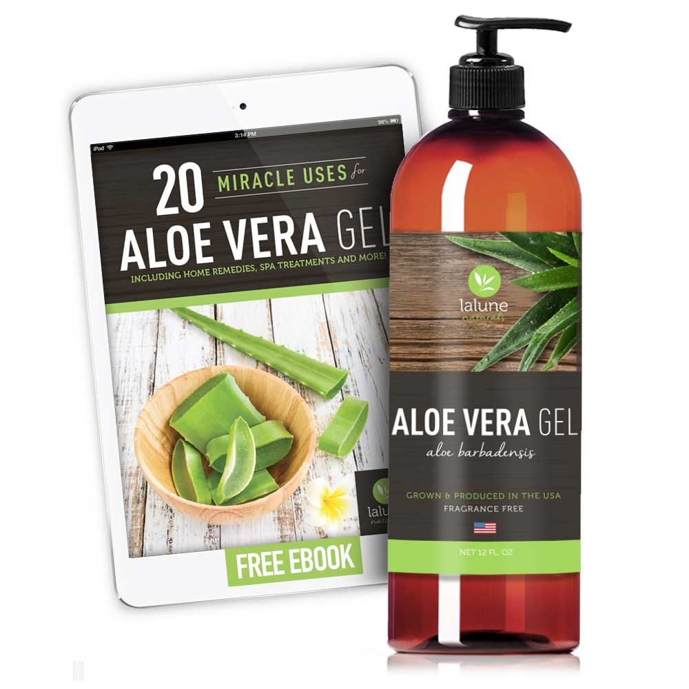 Aloe Vera Gel Organic for Face, Hair, Skin - 12 Oz - Certified Pure, 20 Recipe eBook Included