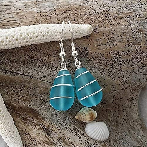 Handmade in Hawaii,wire wrapped blue sea glass earrings, sterling silver hooks, Hawaiian Gift, FREE gift wrap, FREE gift message, FREE shipping