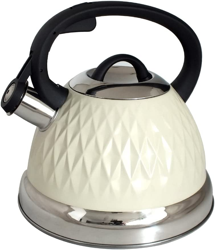 Suitable for Induction Hobs Cream 1.4 Litre Whistling Kettle