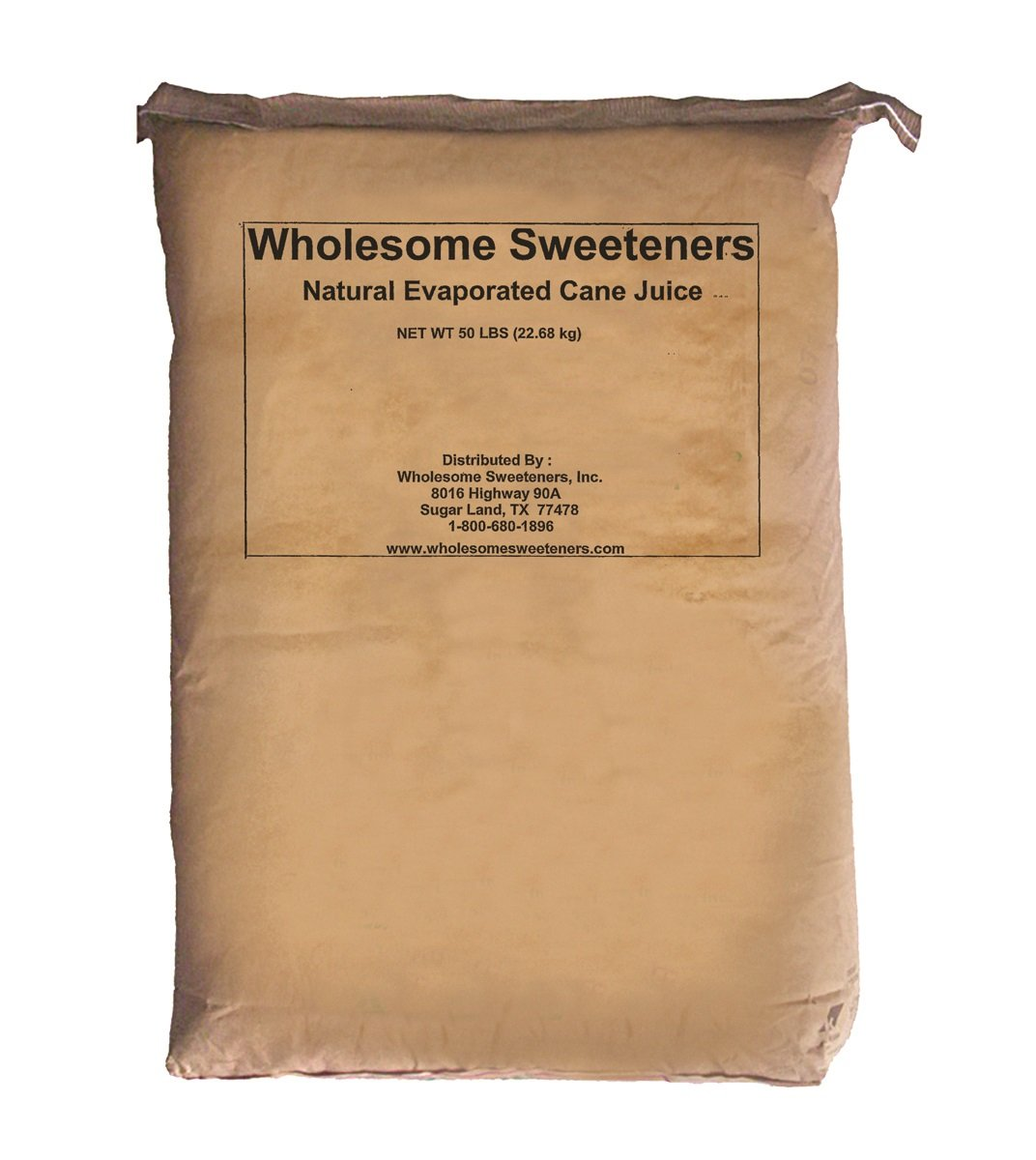 Wholesome Sweeteners Natural Cane Sugar (Evaporated Cane Juice), 50 lb, Single Unit