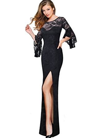 94d77a6bb0 VfEmage Womens Sexy Lace Ruffle Bell Sleeves Formal Evening Party Maxi Dress  9580 BLK S