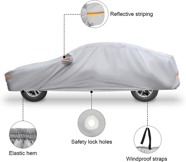 NOVSIGHT Telo Copriauto Copertura per Auto Universale Taglia XL 490x180x160CM Adatta per Protezione 193 Automobile PEVA Cotone Grigio Impermeabile Anti-UV Antifurto Anti-Vento