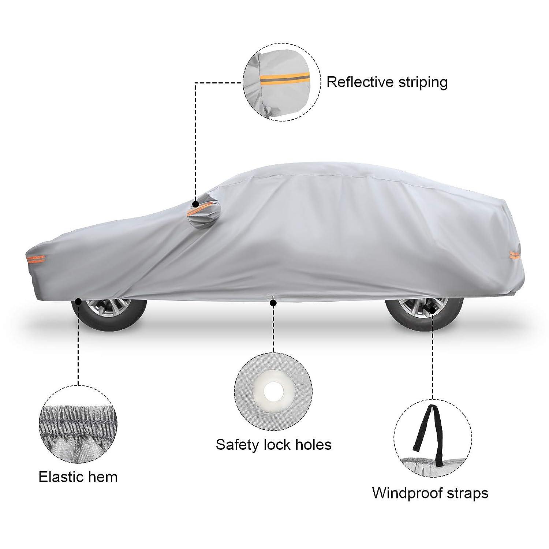 NOVSIGHT B/âche Housse de Voiture Taille M Universelle Convient pour Protection 173 de Voiture Auto en PEVA Coton Grise Etanche Anti UV 440x180x160CM avec 2 Sangles de 4M /à 4.5M Anti-Vent