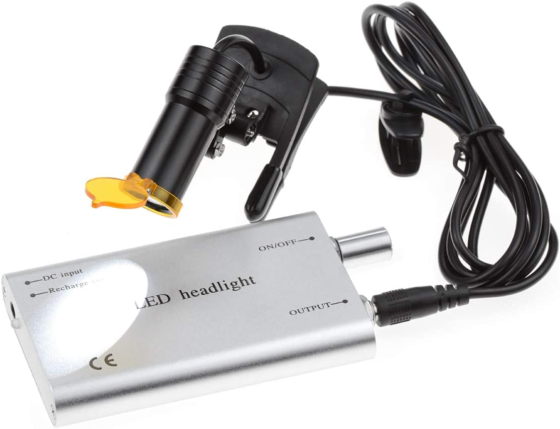 Mike Dental Surgical Headlamps 5W Adjustable Clip Type LED Head Light Suitable for All Medical Loupes 007 Silver