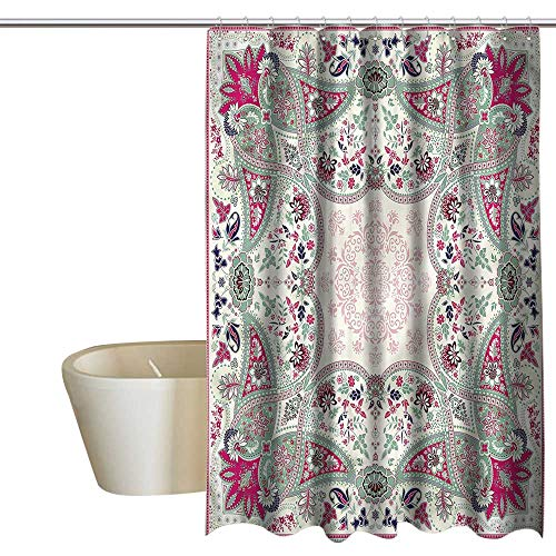 (Denruny Shower Curtains Kids Paisley,Ornamental Square,W55 x L84,Shower Curtain for Men)