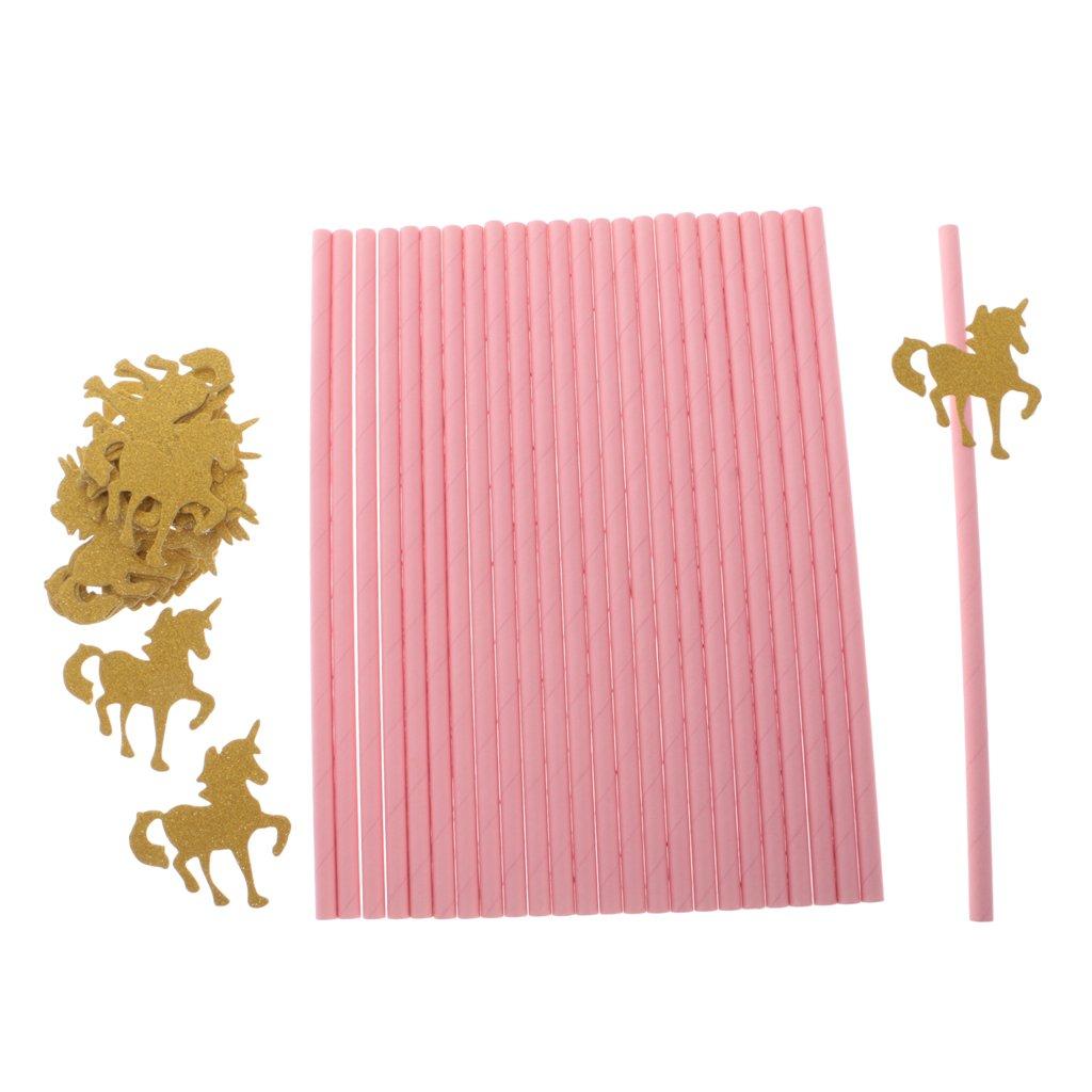 MagiDeal 25pcs Pailles Papier Rose avec Ornement Licorne en Paillette Dor/é pour Anniversaire Enfant