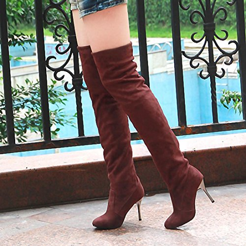 Hot!Yanhoo Point Toe High-Heeled Women Boots Autumn Winter Fitted Women Single Shoes Brown zmKVM