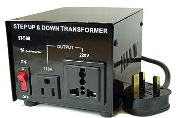 Transformador 220V a 110V hasta 500 vatios convertidor Voltaje para Usar Equipos Americanos en España y para Usar Equipos de 220 voltios en el Extranjero: Amazon.es: Electrónica