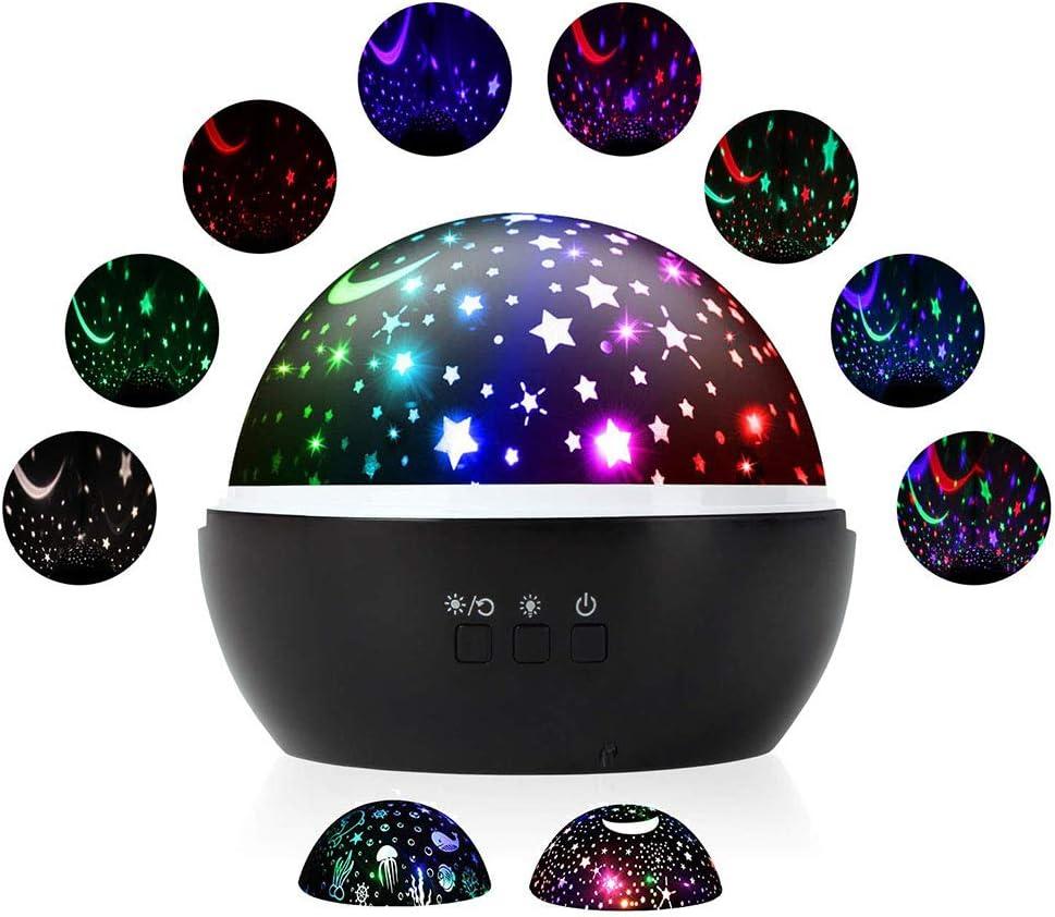 Fantasía lámpara de proyector Estrella Luna habitación luces de la atmósfera, LED Rotación de 360 ° Luz de noche, 2 modos / 8 tipos de luces de colores Regalo para la fiesta de cumpleaños,Black
