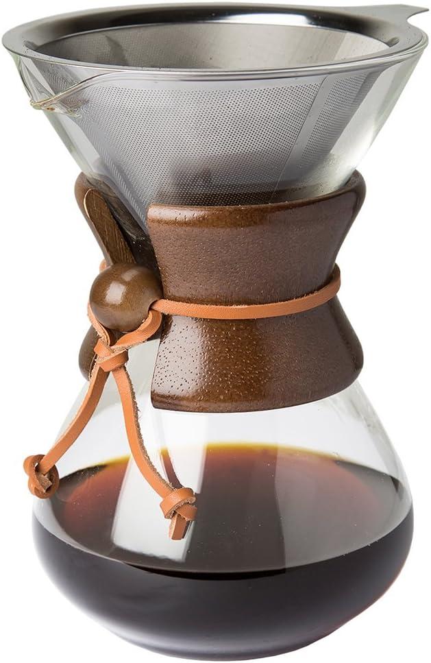 Pour Over Cafetera con borosilicato Grass Jarra Y Filtro de Acero Inoxidable Reutilizable - 500ml de filtros de café Manual Brauer. con Madera De Verdad móvil: Amazon.es: Hogar