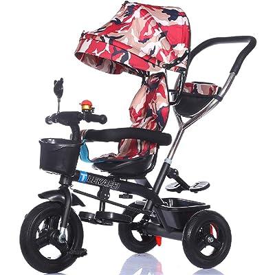 4-en-1 Enfant Tricycle Enfant Chariot Poignée Poignée Stoller Vélo avec Auvent Anti-UV et Poignée Parent | pour 1-3-6 ans Garçon et Fille Bébé | Sièges rotatifs | Roues