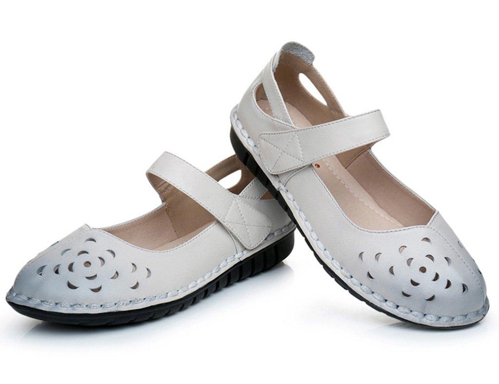 HWF Damenschuhe Sommer Mutter Wohnung mittleren Alters Oma Schuhe flache flache flache weiche untere alte Leute Sandalen Frauen coole Schuhe weiblich ( Farbe   Weiß  größe   38 ) 379dff