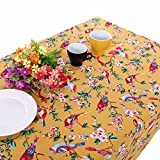 UniTendo Retro Countryside Style Table Cloths with Lively Birds and Flower Branch Pattern Cotton Spring Table Cover for Kitchen Dining Tabletop Decor,Yellow,55''x86''
