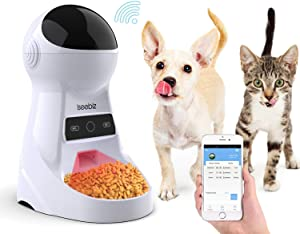 Iseebiz Automatic Cat Feeder Pet Feeder 3.5L Automatic Dog Feeder Food Dispenser Features-Wi-Fi Time and Meal Size Programmable Voice Recorder APP Control Up to 8 Meals a Day for Small and Medium Pet