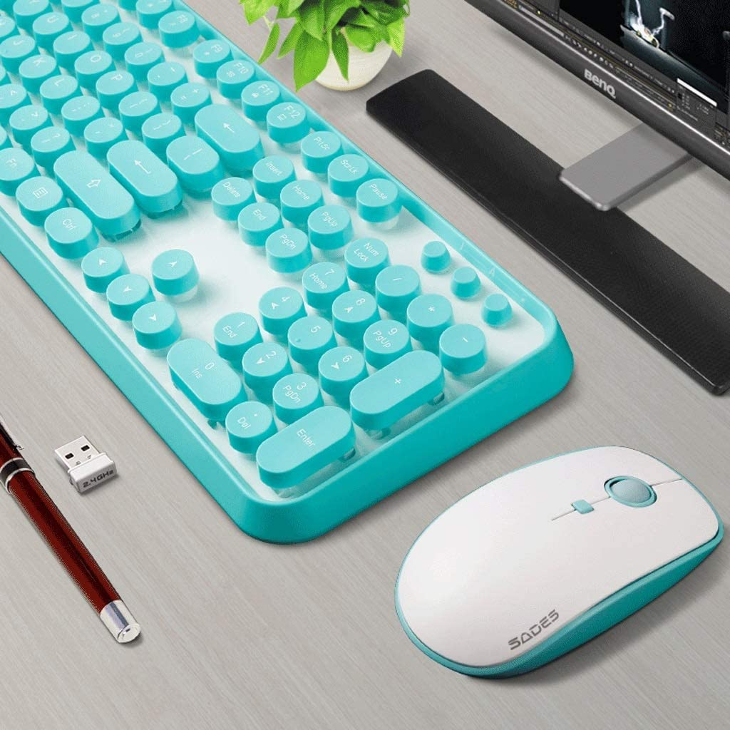 Color : E Wireless Keyboard Mouse Set Gaming Keyboard Mouse Combo Working Or Games Punk Round Key Keyboard Mouse Set