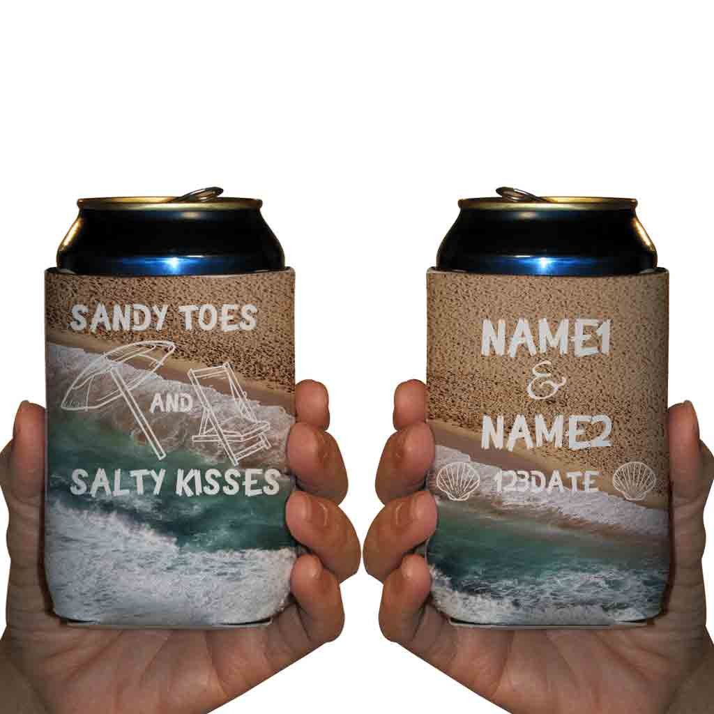 Custom Wedding Can Cooler- Sandy Toes And Salty Kisses - Beach Destination Wedding Theme Can Coolers (100) by VictoryStore