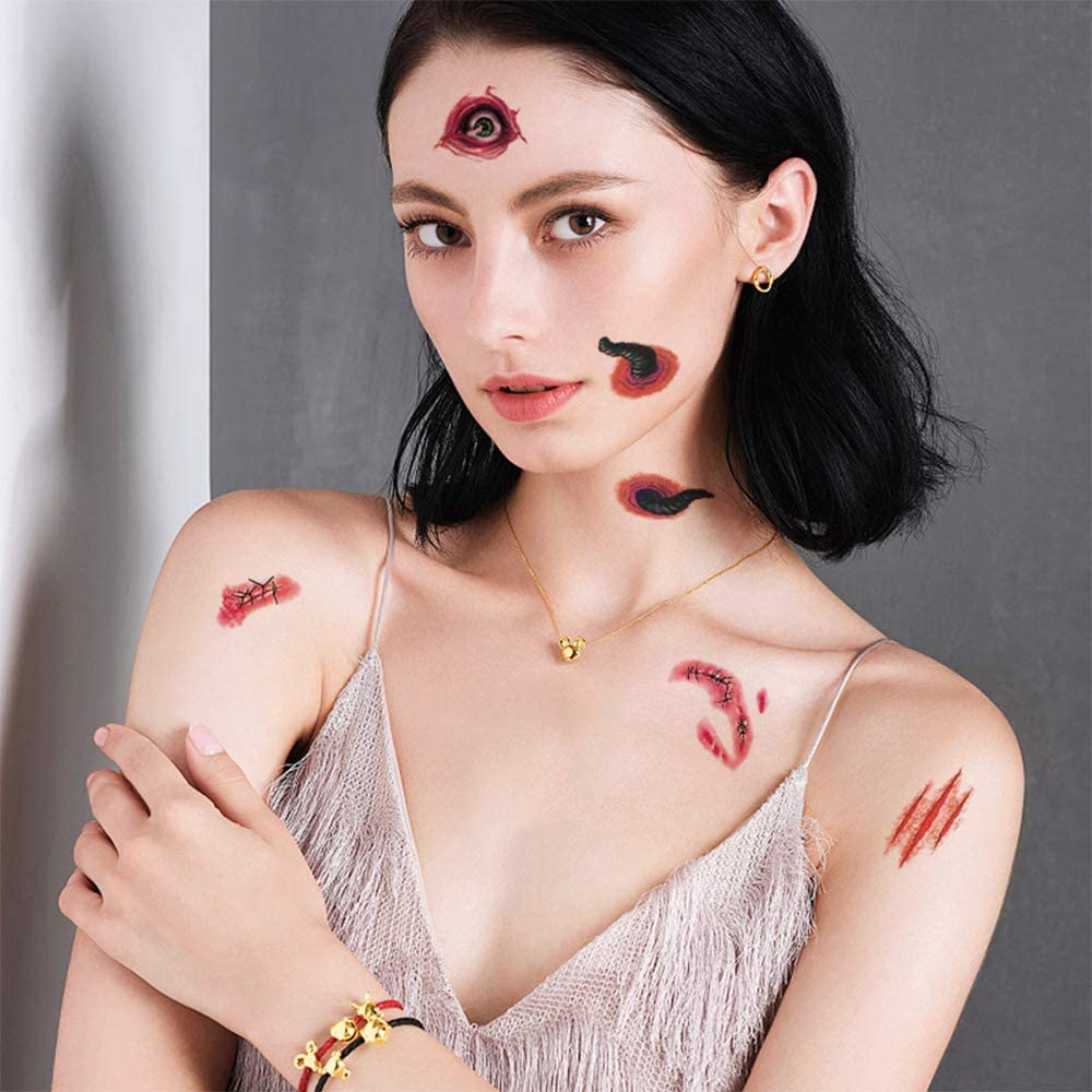 Halloween Tattoos Nnife-scar Tattoos Funny Wound Tattoos Waterproof Tattoos for Halloween//Party//Cosplay//Zambies,10 sheets(70+Wound pattern)