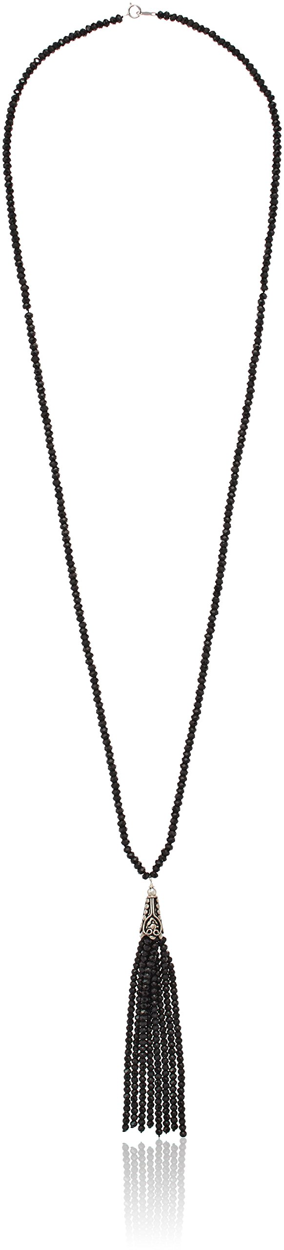 Black Spinel Long Beaded Tassel Pendant Highlighted with Sterling Silver Fancy Cap Pendant Necklace, 28''