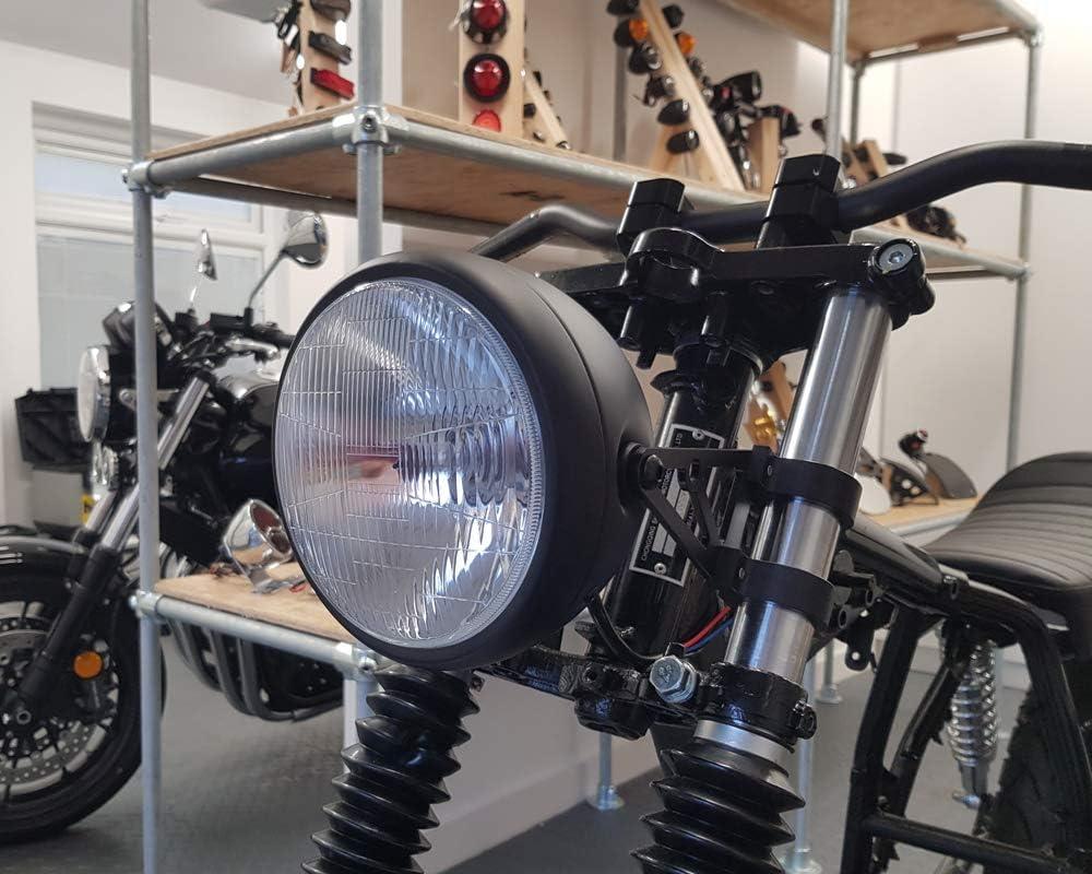 Motorrad Universal 6/3//10,2/cm 17,1/cm matt schwarz Stahl 12/V 55/W H4/SCHEINWERFER f/ür Cafe Racer Project