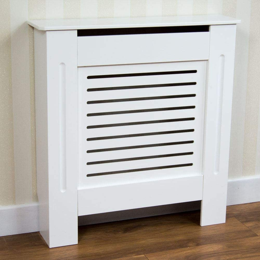 Vida Designs Milton Radiator Cover Modern White Painted MDF Cabinet, Small