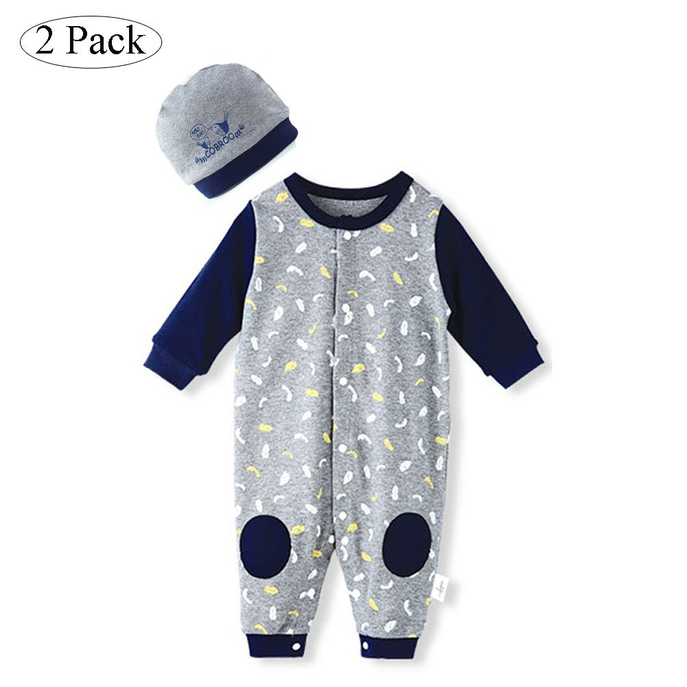 dcf5cf4d1e6 Amazon.com  COBROO Cotton Onesies for Baby Infant Newborn with Snap Button  Coverall Romper Bodysuit Grey Beanie Hat Set  Clothing