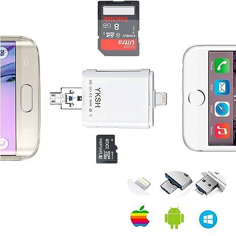 yksh lector de tarjetas SD, OTG USB Lightning a lector de ...